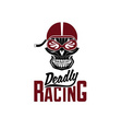 skull racer with flame glasses vintage design vector image