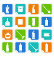 stickers with the equipment for cleaning vector image vector image