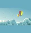 two air balloons in the sky with clouds vector image vector image