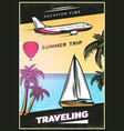 vintage colored traveling poster vector image