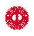 world kidney day concept in flat style vector image