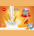 yogurt ads pouring milk and cereals background vector image vector image