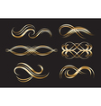 Gold Decorative Labels and Swirls vector image