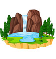 a beautiful waterfall landscape vector image