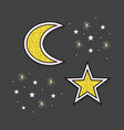abstract golden moon and stars icons on black vector image vector image