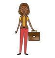 beautiful black businesswoman with portfolio vector image