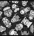 black and white masks seamless pattern vector image