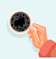 breakfast time banner male hand holding cup vector image
