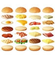 Burgers set Ingredients buns cheese bacon vector image vector image