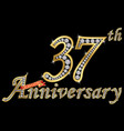 celebrating 37th anniversary golden sign vector image vector image