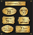 collection of anniversary retro gold labels 20 vector image vector image