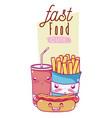cute fast food kawaii cartoon vector image