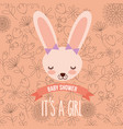 cute female rabbit baby shower girl vector image vector image