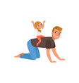 cute little daughter riding on her fathers back vector image vector image