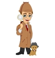 Detective boy with dog holding magnifying glass vector image