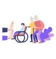 elderly and handicapped people and social refusal vector image