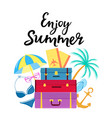enjoy summer hand drawn lettering travel vector image vector image