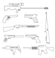 firearms weapons and guns outline icons eps10 vector image