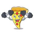 fitness pizza slice character cartoon vector image