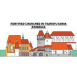 fortified churches in transylvania romania vector image vector image