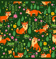 fox childish seamless pattern vector image vector image
