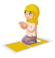 Girl cartoon praying vector image