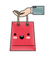 hand holding a trapezoid kawaii shopping bag in vector image vector image