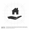 hands holding house icon vector image vector image