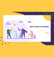 happy family characters playing snowball on winter vector image vector image