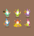 happy gnomes set bearded gnomes characters with vector image vector image