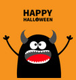 happy halloween cute black silhouette monster vector image vector image