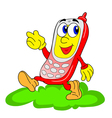 happy red cartoon mobile vector image vector image