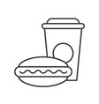 hotdog and soft drink fast food outline icon vector image