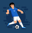 italian football player with ball in white blue vector image