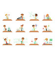 kids in lab clothing doing scientific experiments vector image vector image