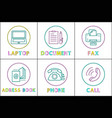 laptop and document icons set vector image vector image