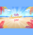 lovely summer promotional poster with green palms vector image vector image