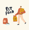 male character carry huge packages with pet food vector image vector image