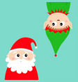 merry christmas new year santa claus elf face vector image vector image