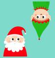 merry year santa claus elf face vector image vector image