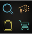 neon promotion and purchase icons set in line vector image