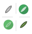 Pea pod flat design linear and color icons set vector image vector image