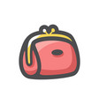 pink female handbag icon cartoon vector image