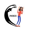 psychology phobia frightened woman character vector image