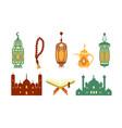 ramadan kareem symbols set islamic holy holiday vector image vector image