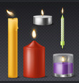 realistic candle candlelight romantic birthday vector image vector image