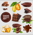 realistic cocoa transparent background set vector image vector image
