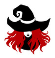 red-haired witch wearing typical witch hat vector image