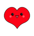 red heart face head cute cartoon kawaii funny vector image vector image