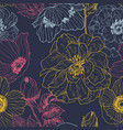 seamless pattern wild roses and anemones vector image vector image